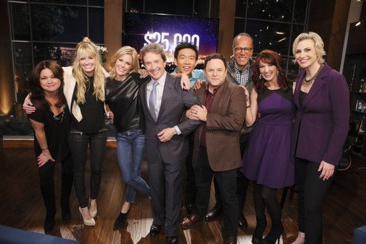 Jane Lynch poses with celebrities and contestants